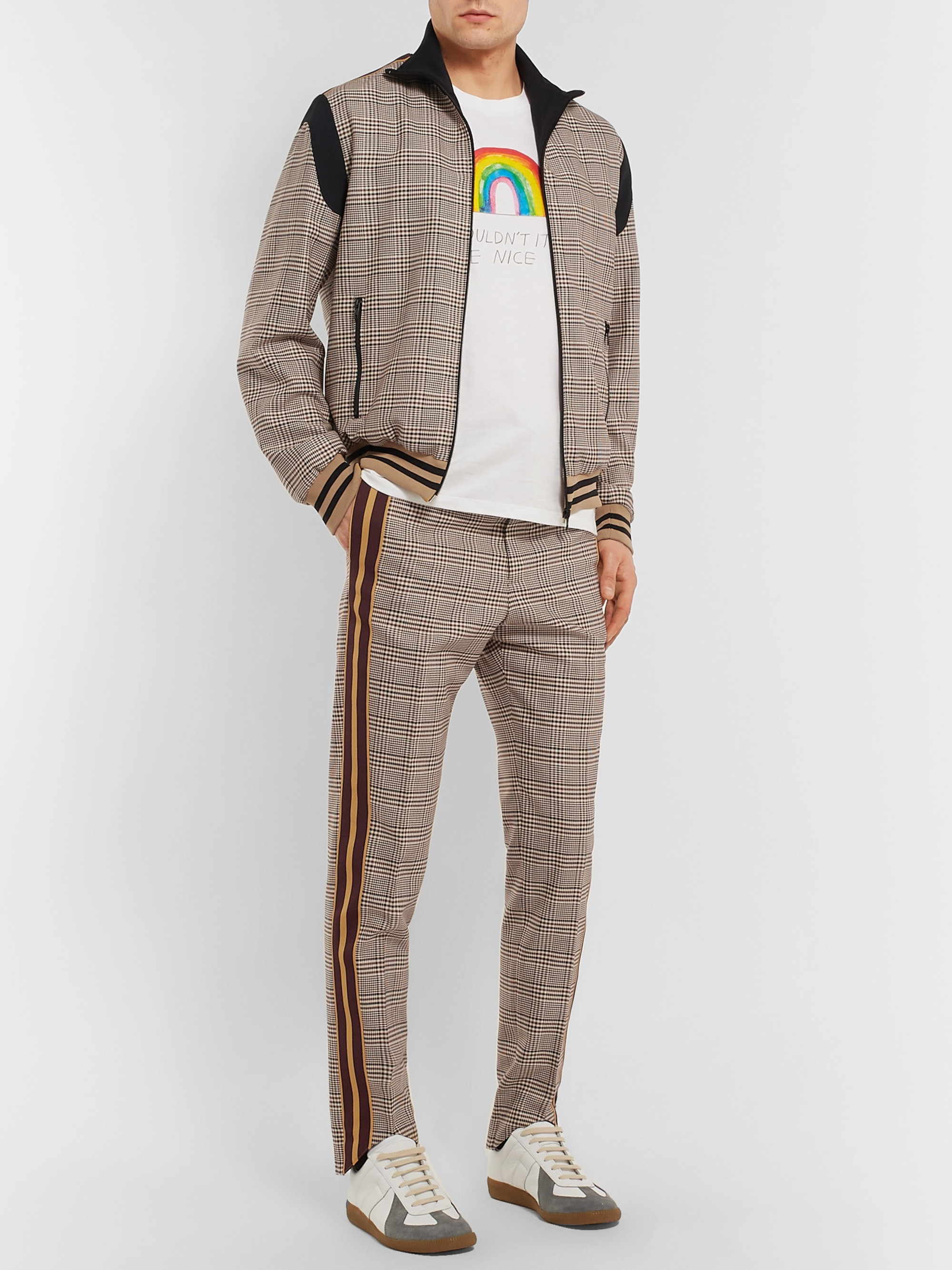 Stella McCartney Prince of Wales Checked Wool and Cotton-Blend Bomber Jacket