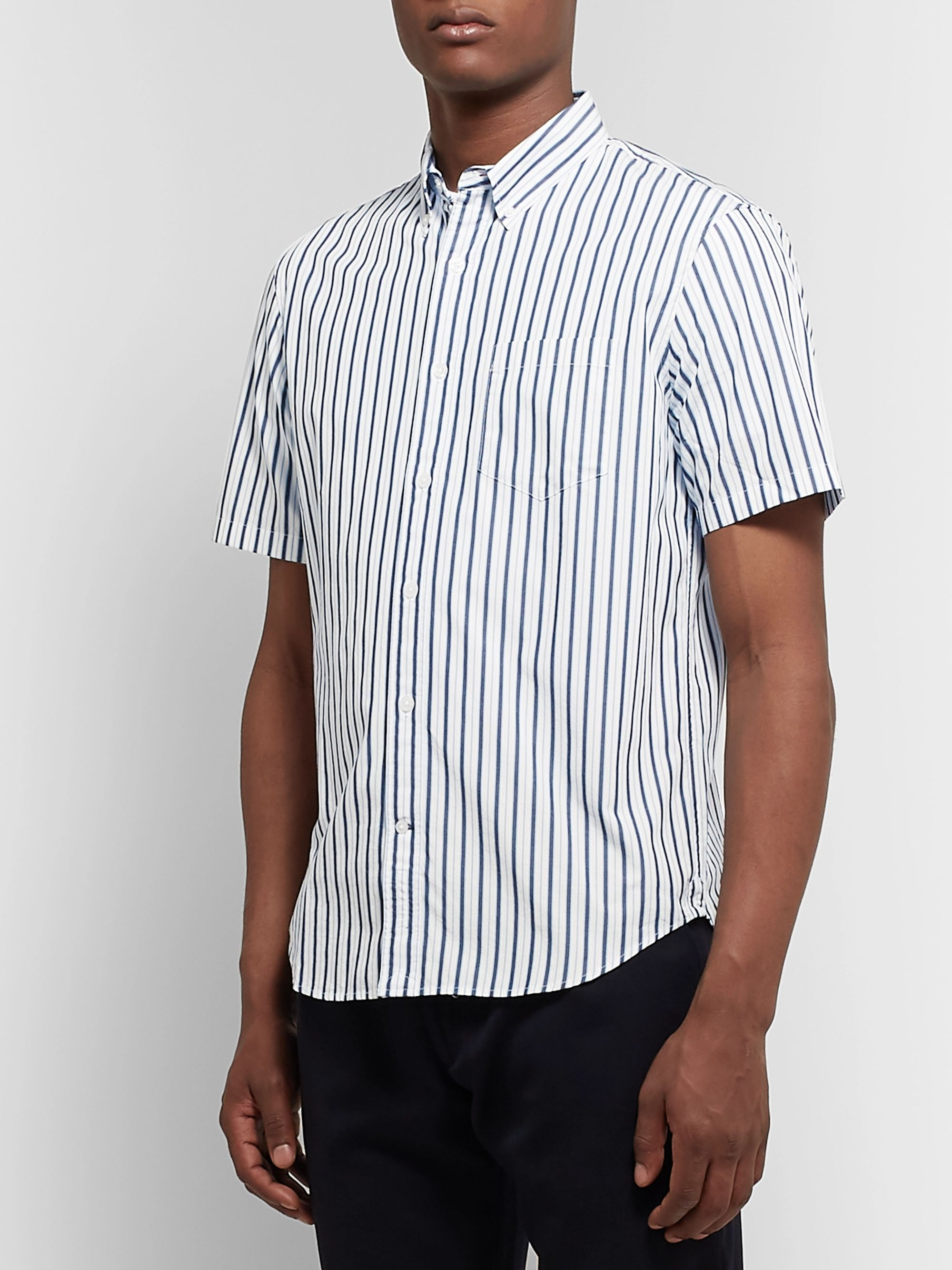 Club Monaco Slim-Fit Button-Down Collar Striped Cotton-Poplin Shirt