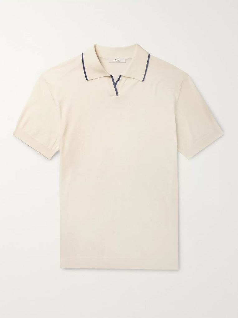 Mr P. Contrast-Tipped Cotton Polo Shirt