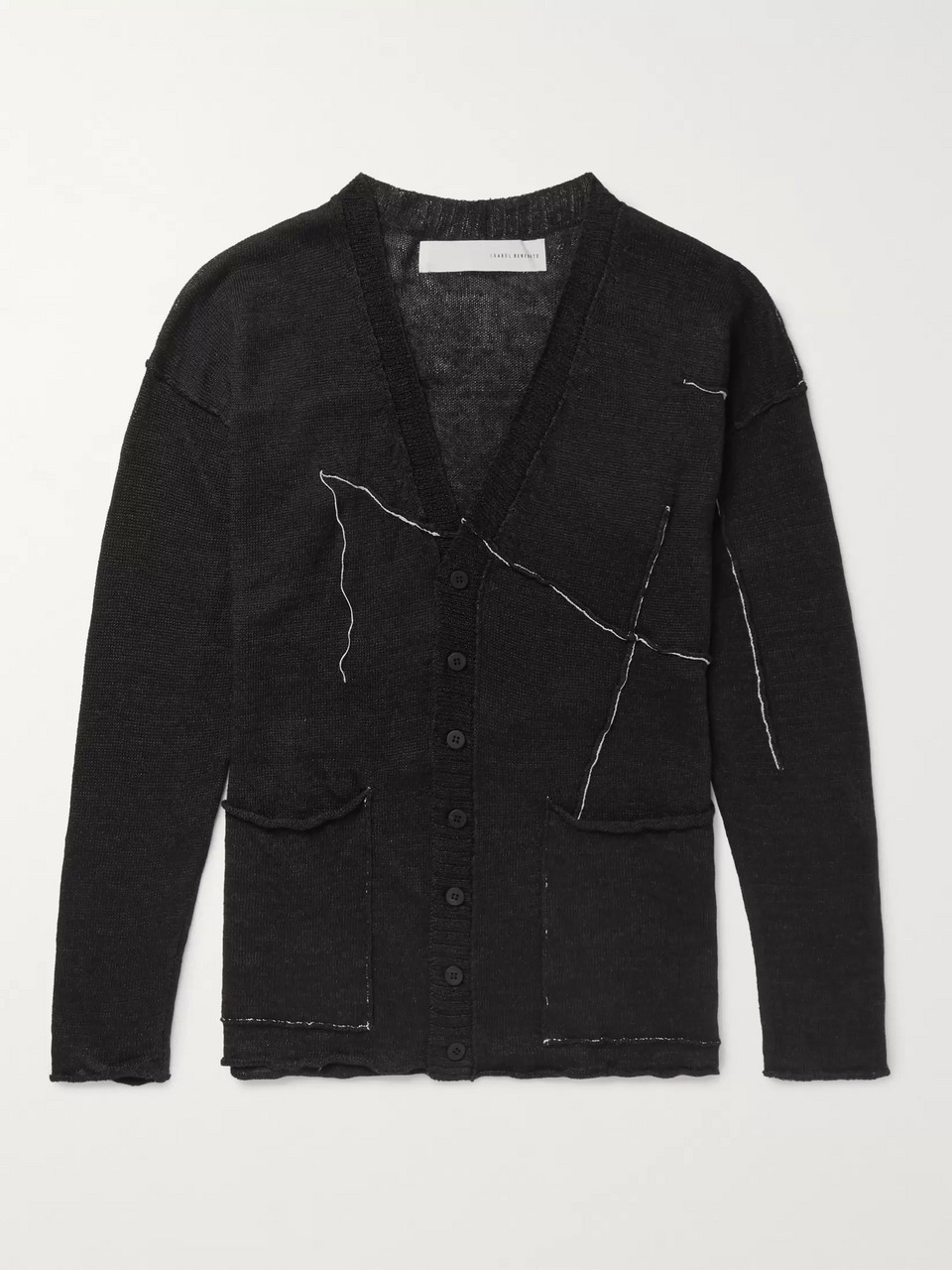 Isabel Benenato Slim-Fit Embroidered Linen Cardigan
