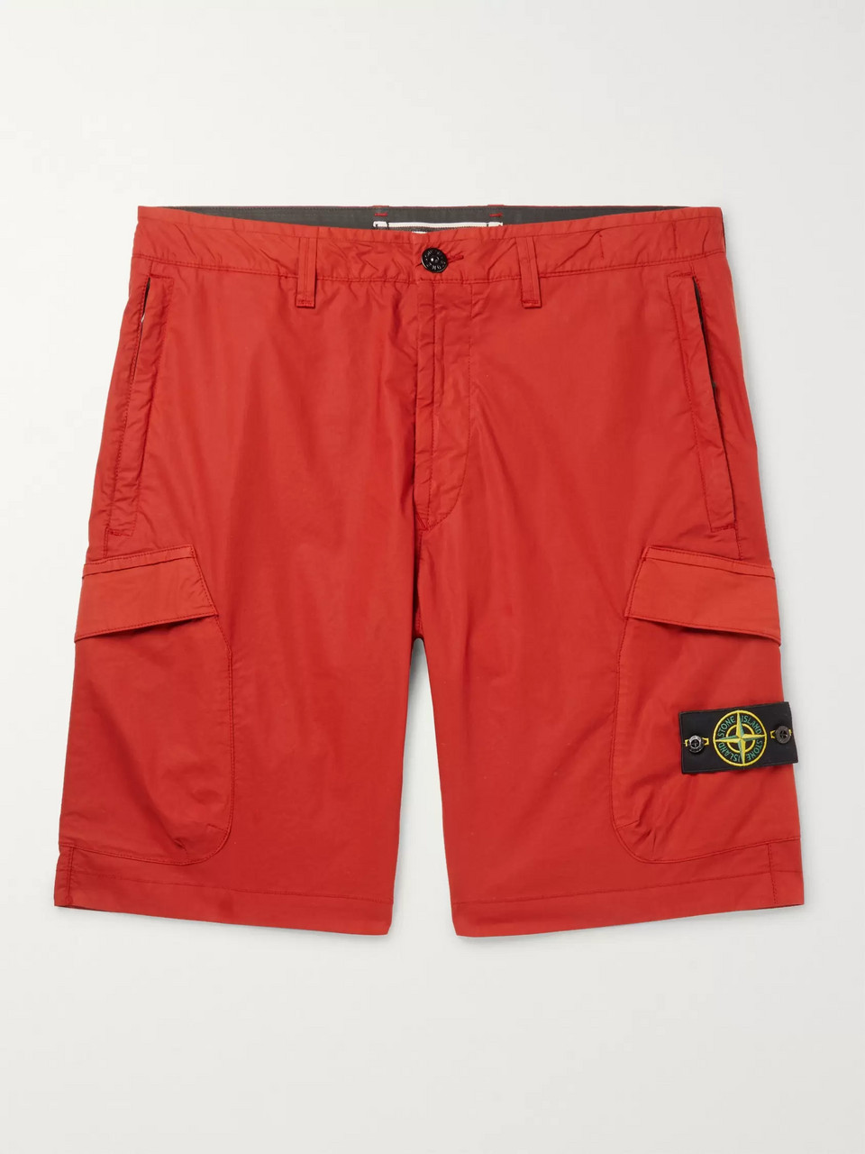 Stone Island Logo-Appliquéd Stretch-Cotton Cargo Shorts