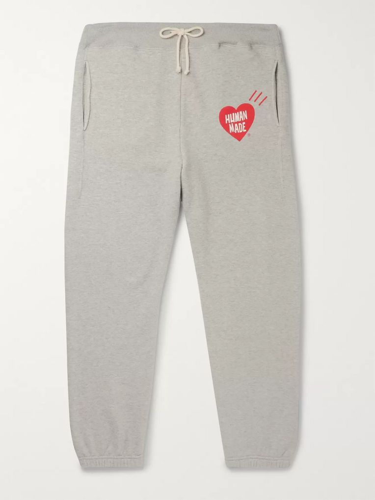 Human Made Logo-Print Mélange Loopback Cotton-Jersey Sweatpants