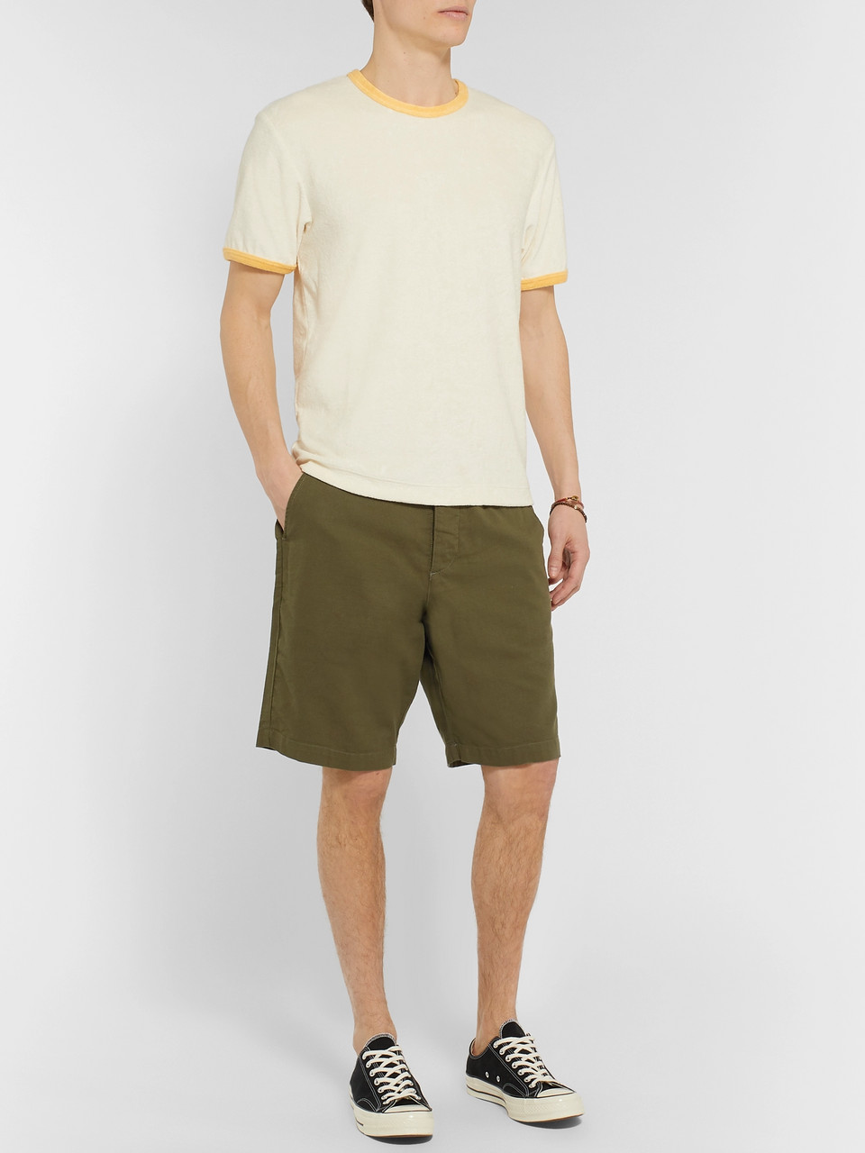 Oliver Spencer Wide-Leg Cotton-Jersey Drawstring Shorts