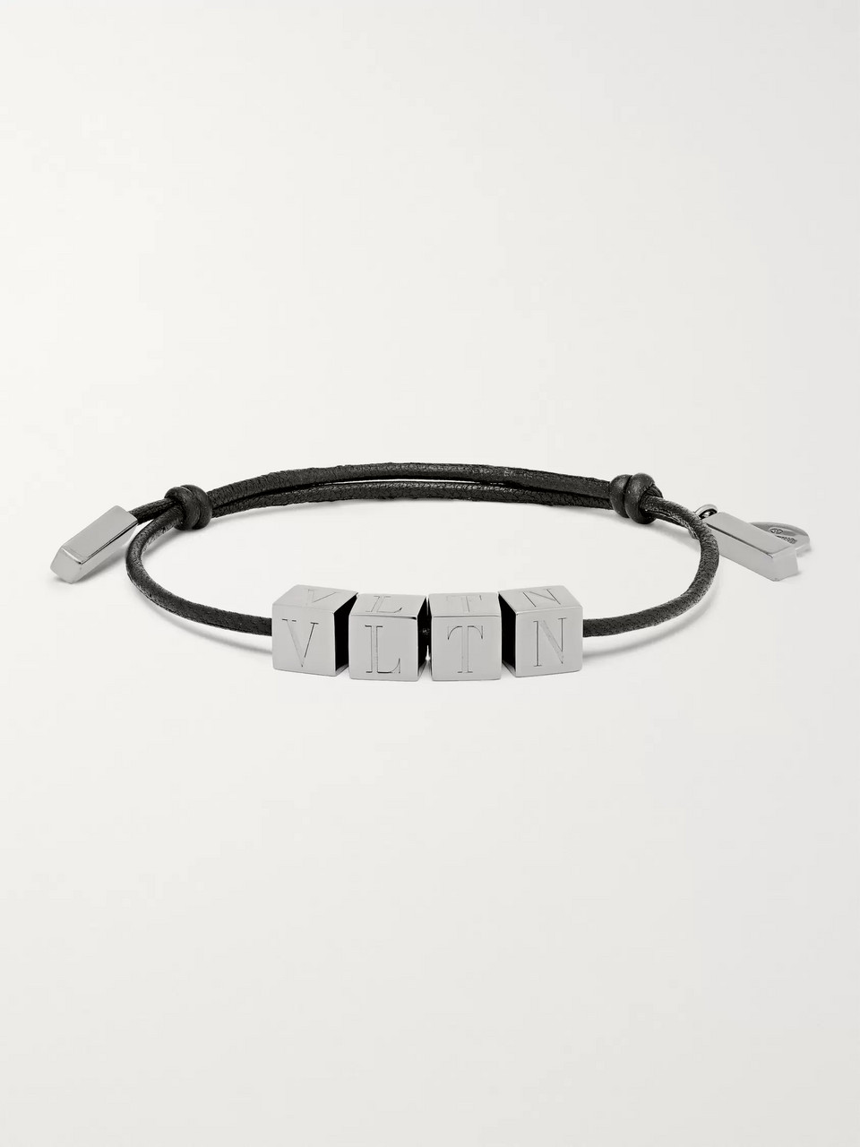 Valentino Valentino Garavani Logo-Engraved Ruthenium and Leather Bracelet