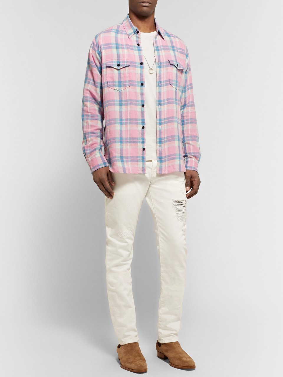 SAINT LAURENT Checked Slub Cotton, Linen and Ramie-Blend Shirt
