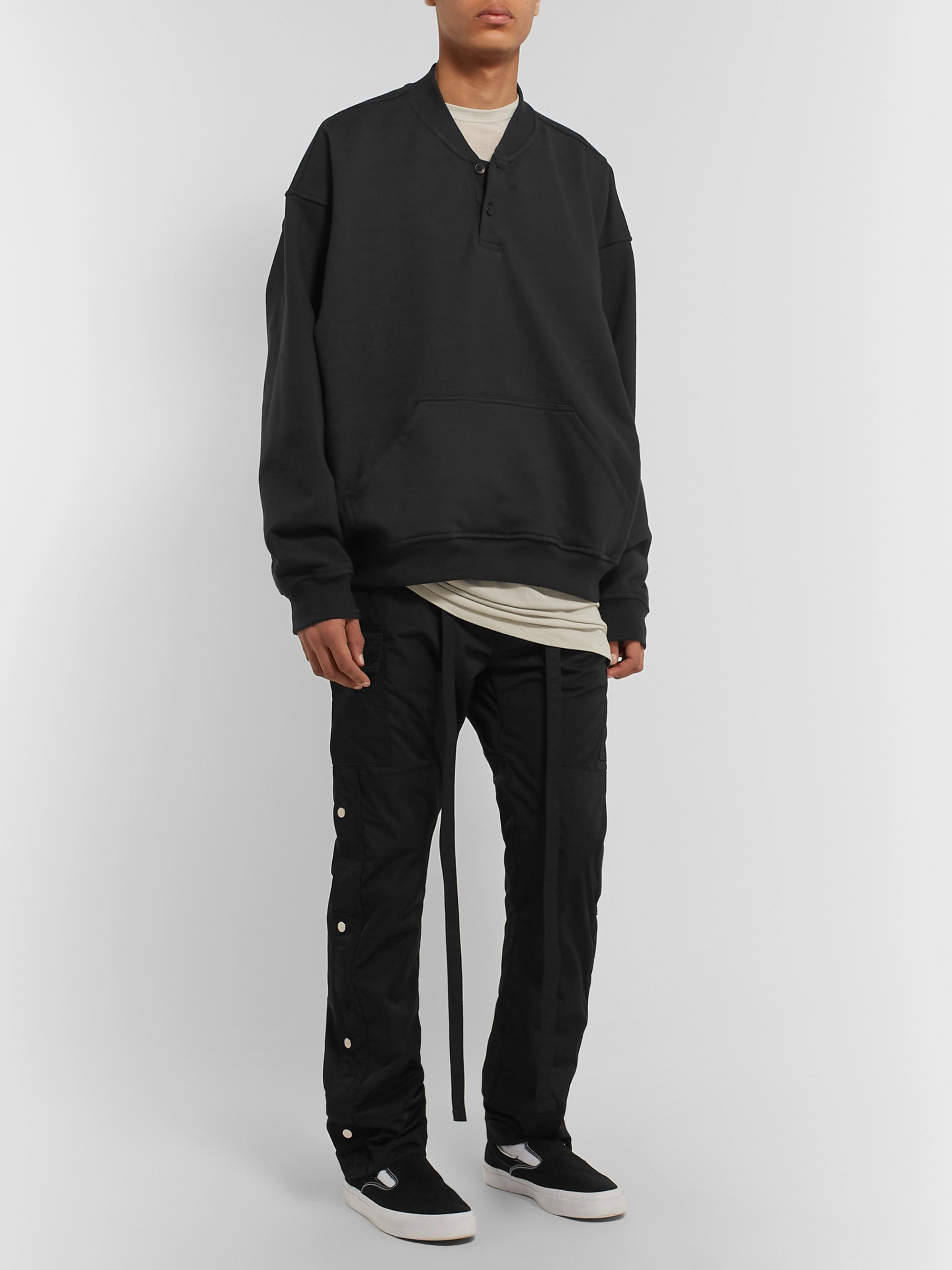 Fear of God Oversized Loopback Cotton-Jersey Henley Sweatshirt