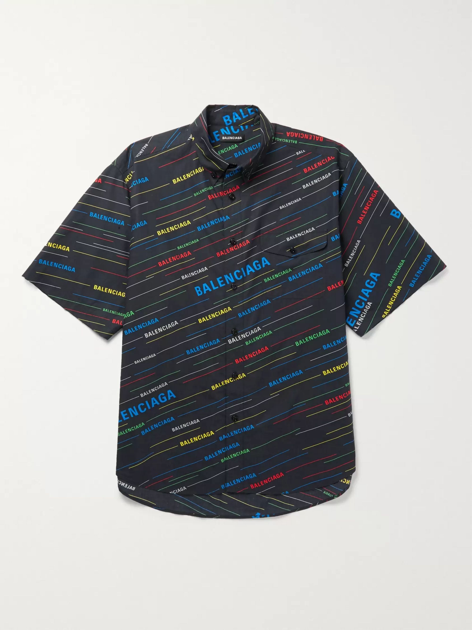 Button Down Collar Logo Print Cotton Poplin Shirt