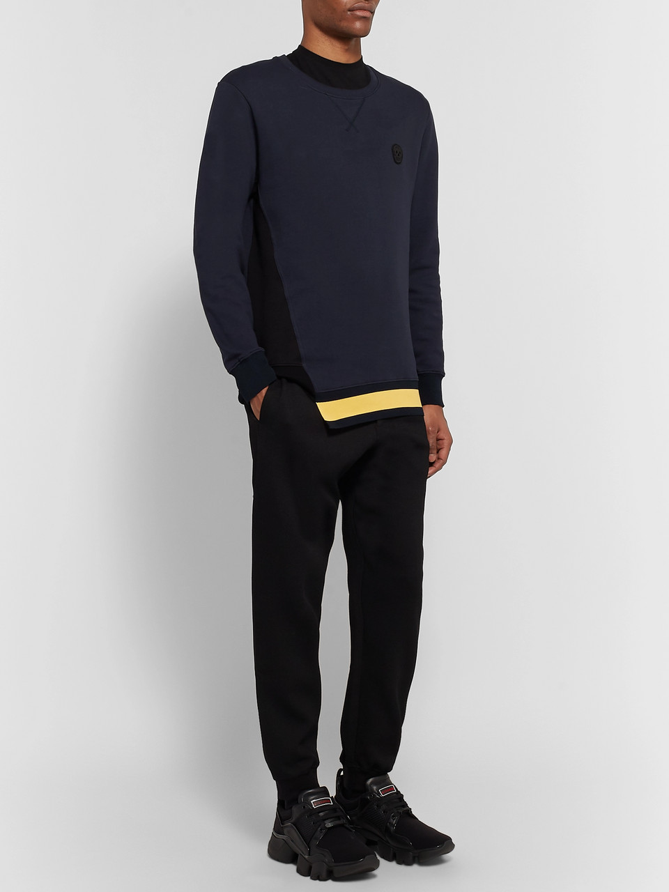Alexander McQueen Appliquéd Striped Loopback Cotton-Jersey Sweatshirt