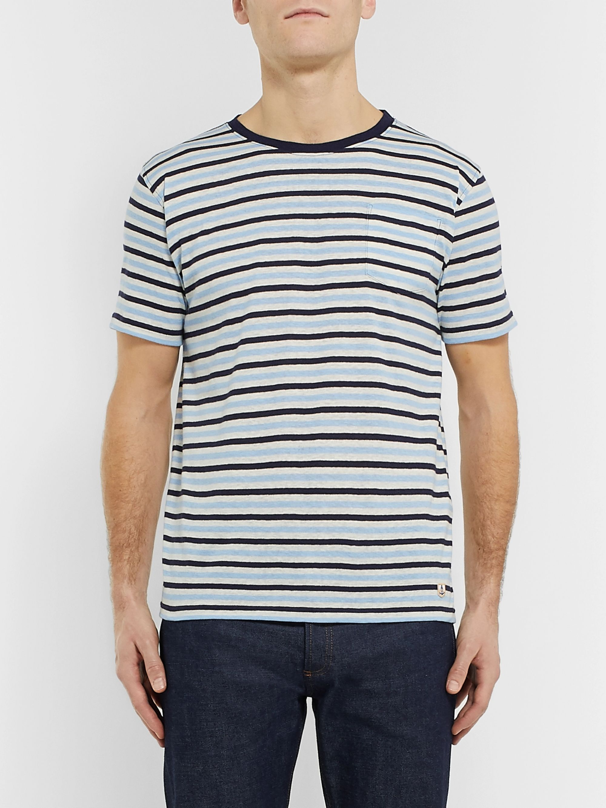 Armor Lux Héritage Striped Cotton and Linen-Blend T-Shirt