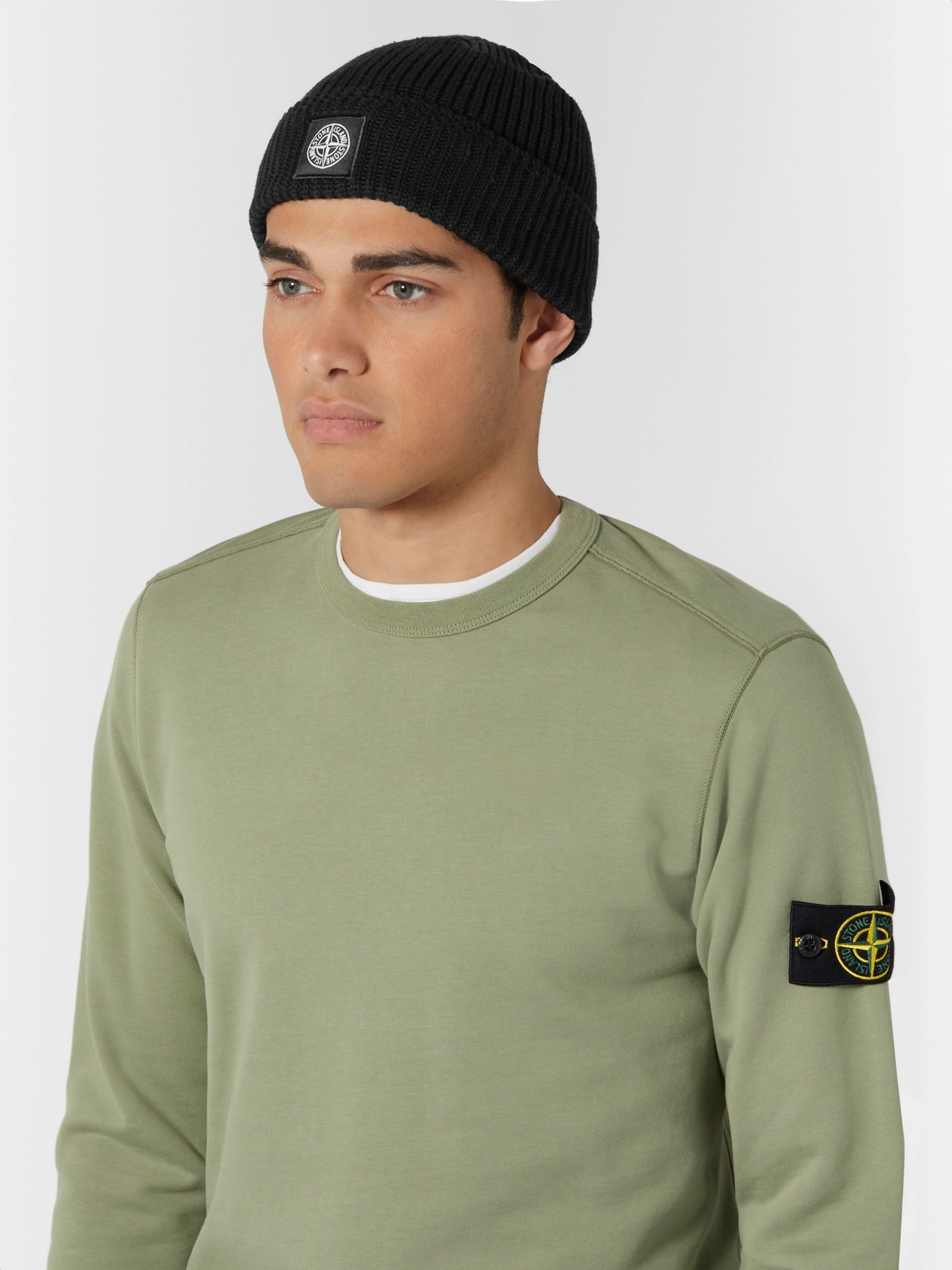 Stone Island Logo-Appliquéd Ribbed Cotton Beanie