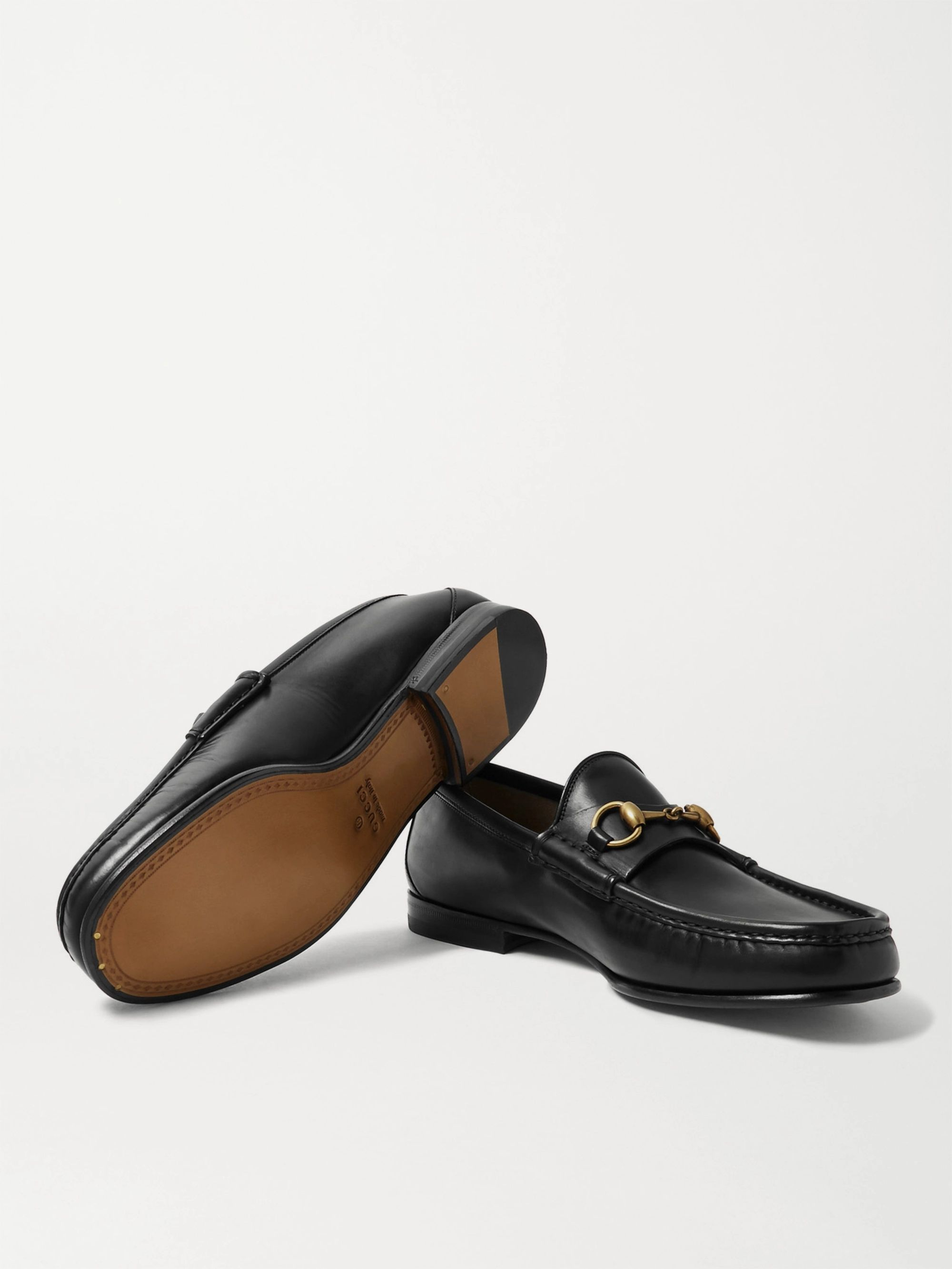 Gucci Roos Horsebit Burnished-Leather Loafers