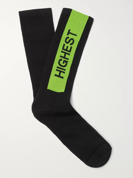 Palm Angels Intarsia Stretch Cotton-Blend Socks