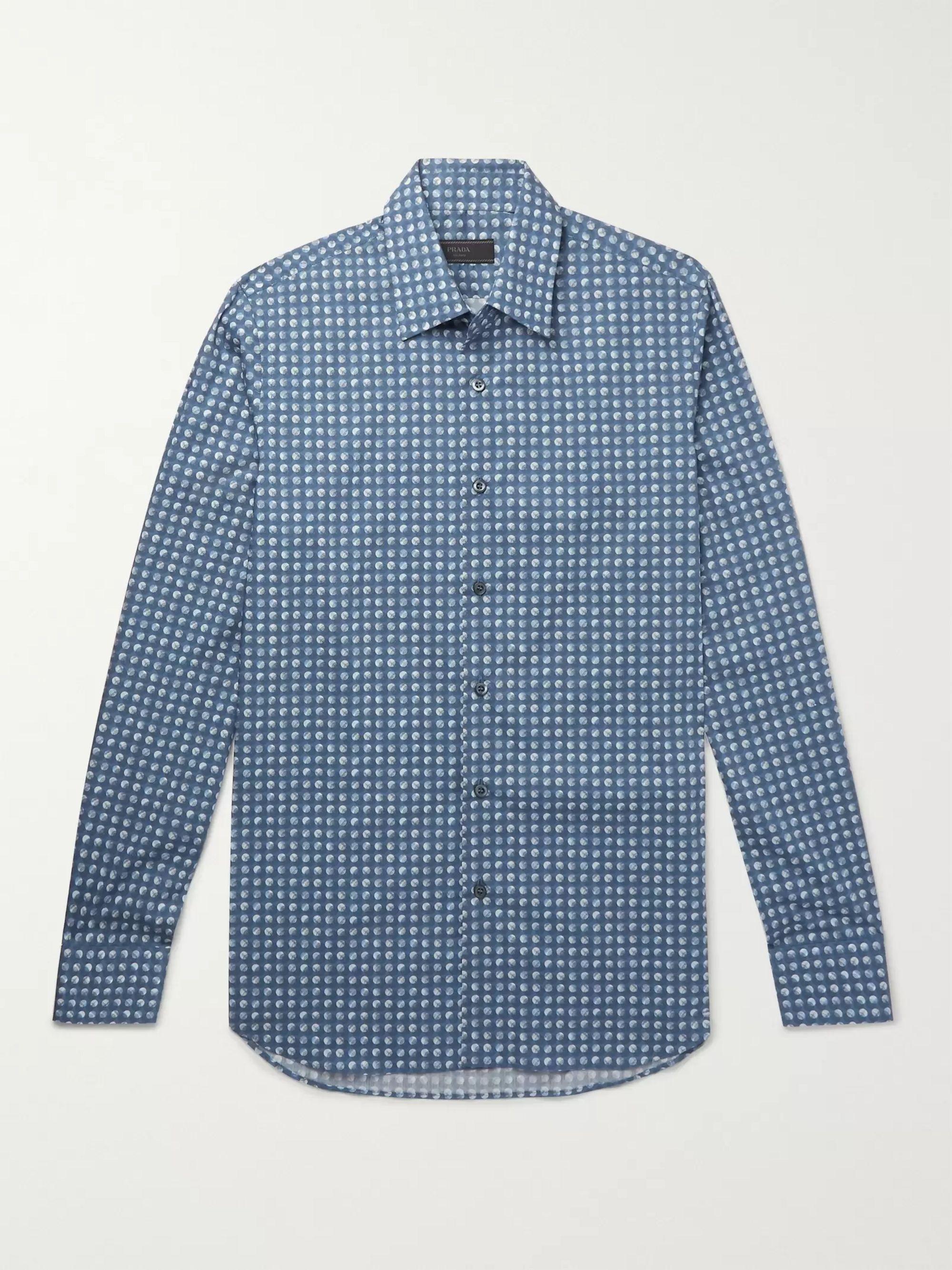 799abbfd5b Slim-Fit Printed Cotton-Poplin Shirt