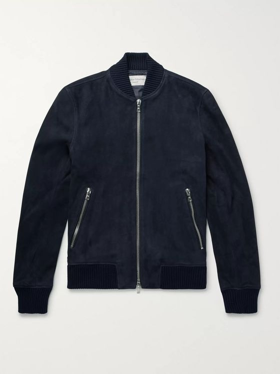 Officine Generale Slim-Fit Suede Bomber Jacket