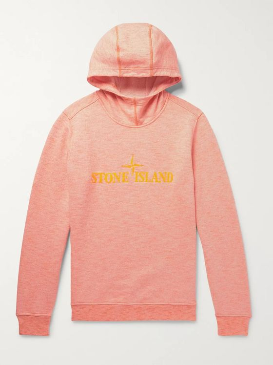 Stone Island Logo-Embroidered Mélange Loopback Cotton-Jersey Hoodie