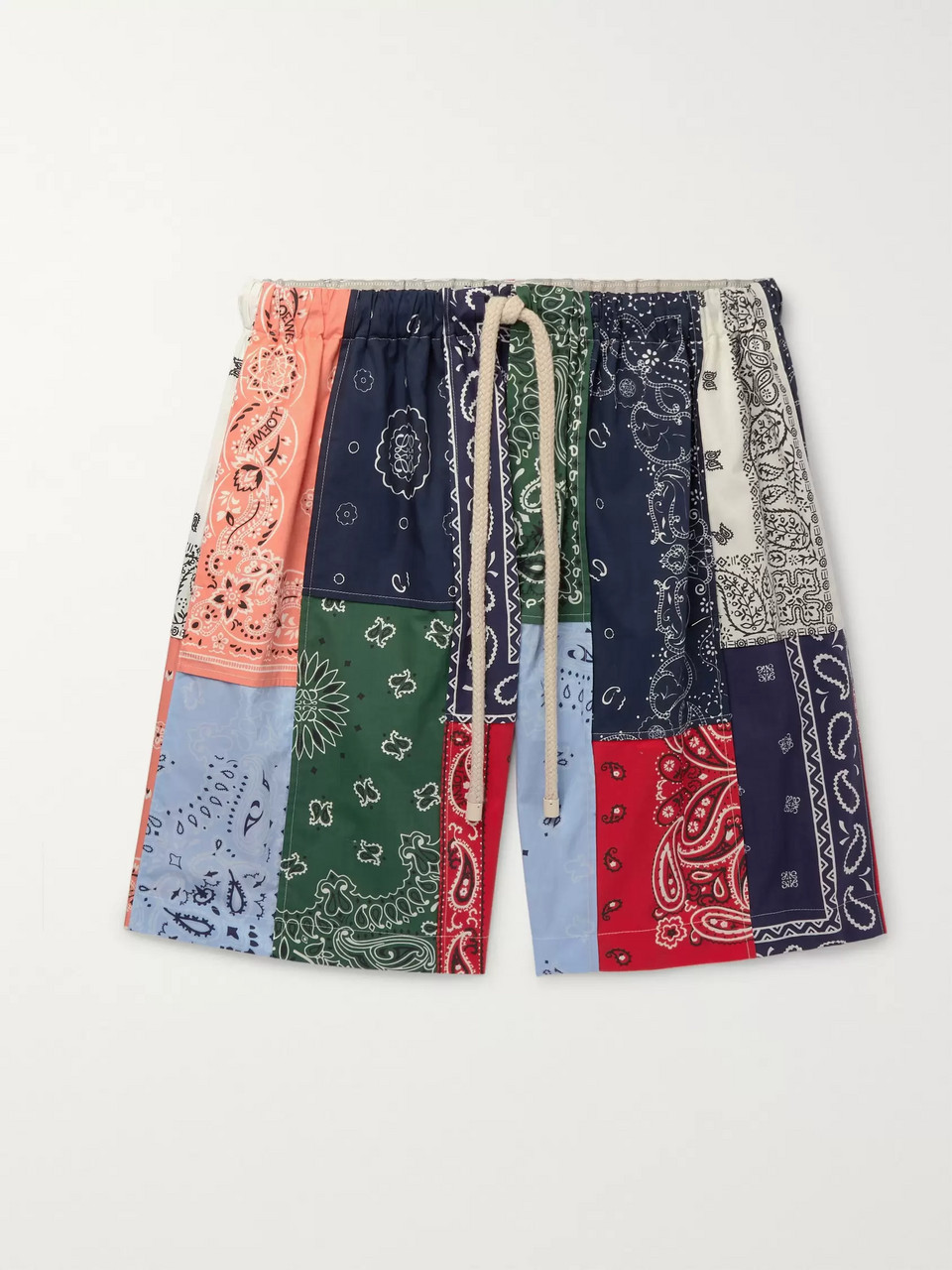 Loewe Wide-Leg Patchwork Printed Cotton Drawstring Shorts