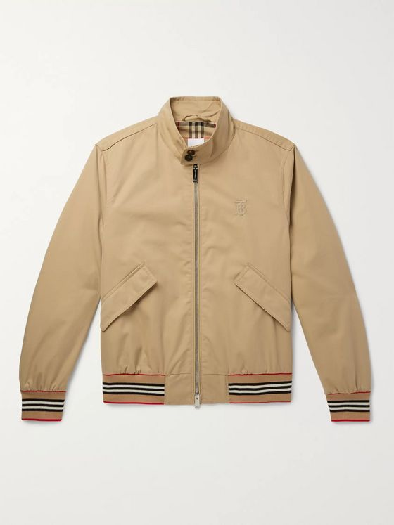 Burberry Logo-Embroidered Cotton-Twill Bomber Jacket