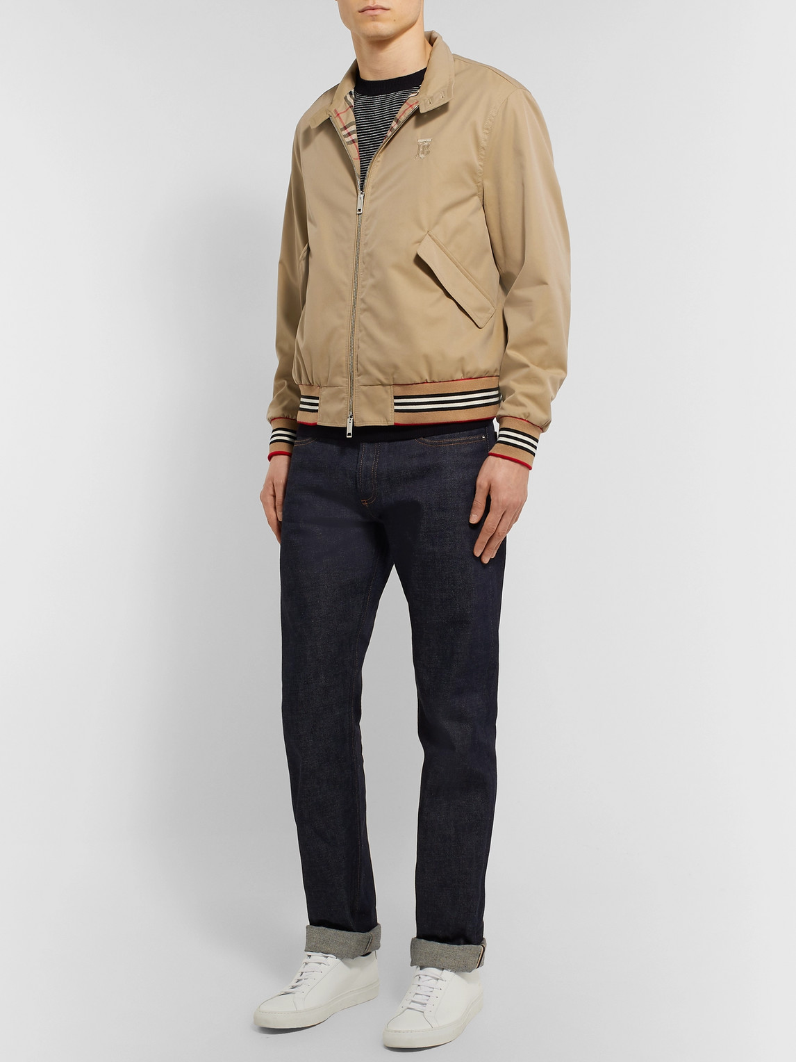 Burberry Jackets LOGO-EMBROIDERED COTTON-TWILL BOMBER JACKET