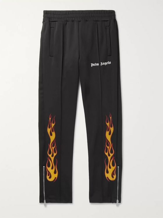Palm Angels Tapered Glittered-Print Tech-Jersey Track Pants