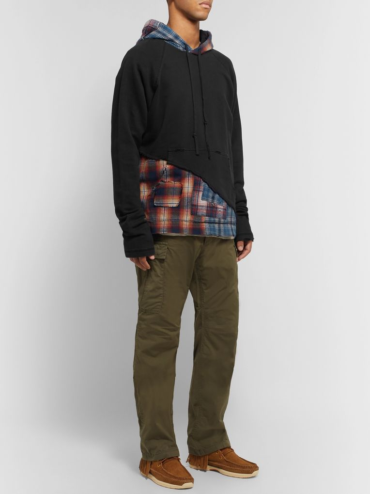 Greg Lauren Panelled Distressed Loopback Cotton-Jersey and Checked Cotton-Flannel Hoodie