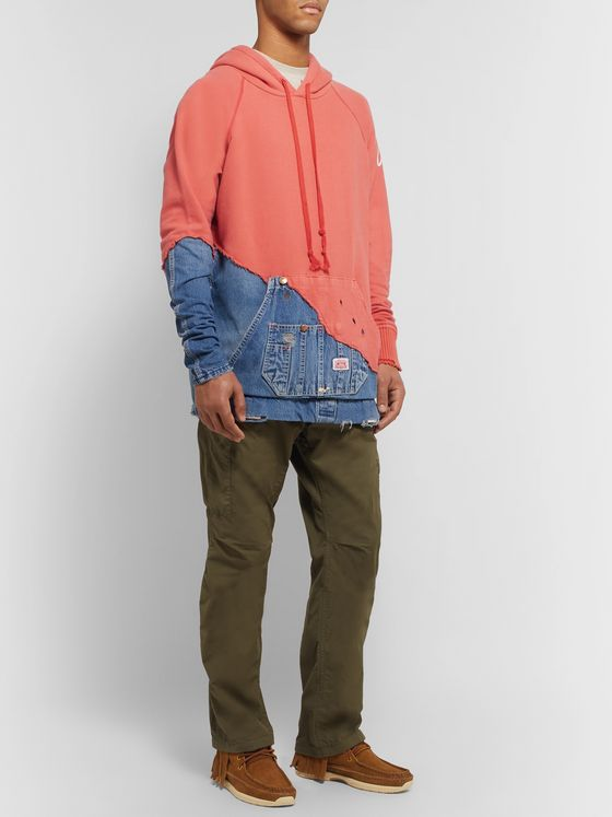 Greg Lauren Paneled Distressed Loopback Cotton-Jersey and Denim Hoodie
