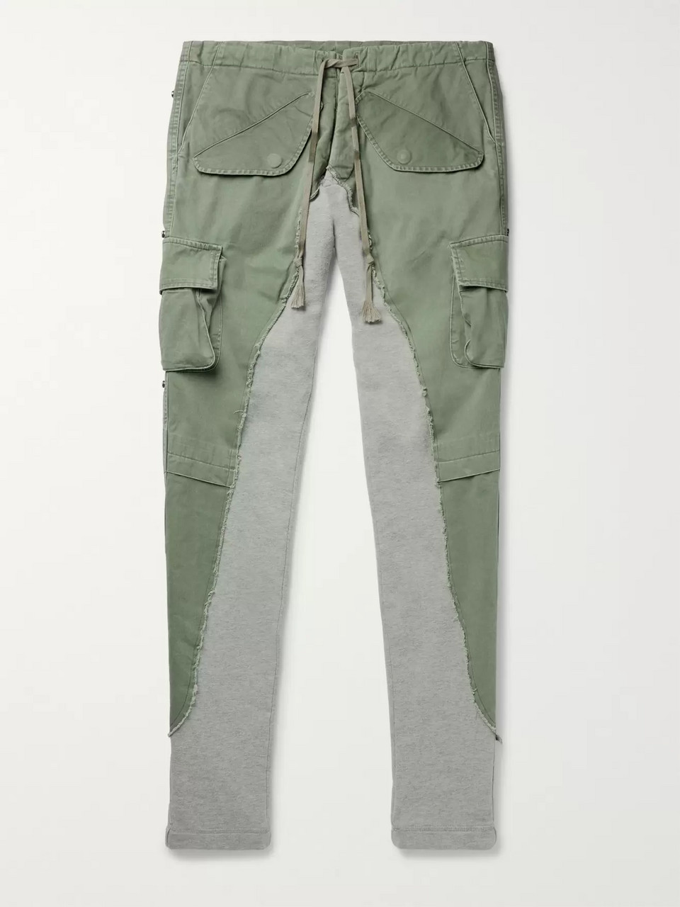 Greg Lauren Tapered Cotton Twill-Panelled Loopback Mélange Jersey Sweatpants