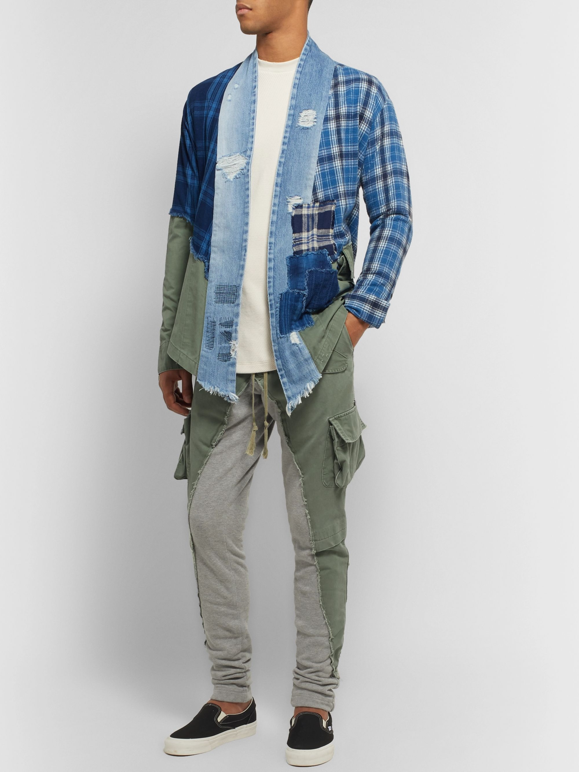 Greg Lauren Tapered Cotton Twill-Panelled Mélange Loopback Jersey Sweatpants