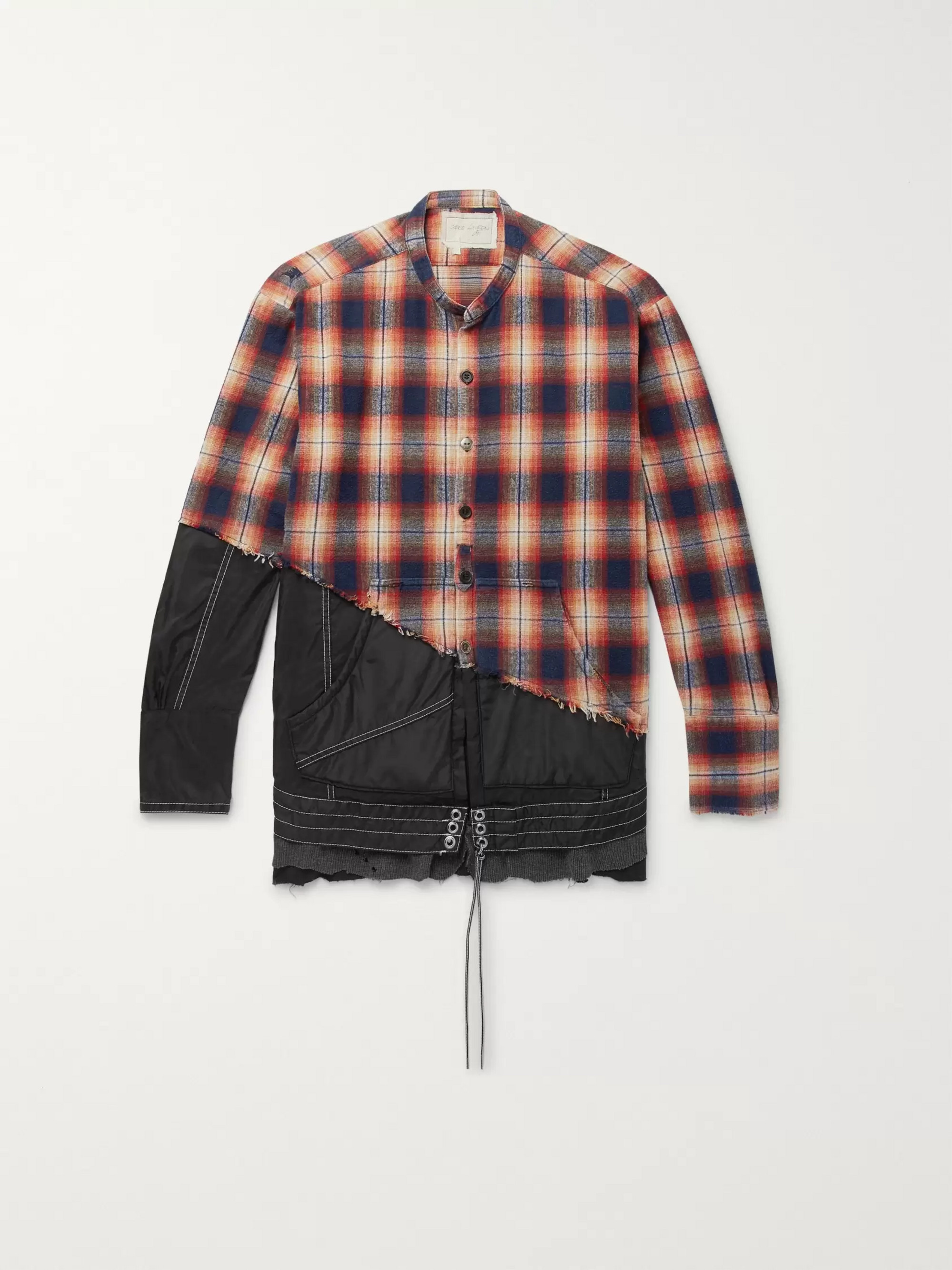 Greg Lauren + Birdwell Grandad-Collar Panelled Distressed Checked Cotton-Flannel and Nylon Shirt