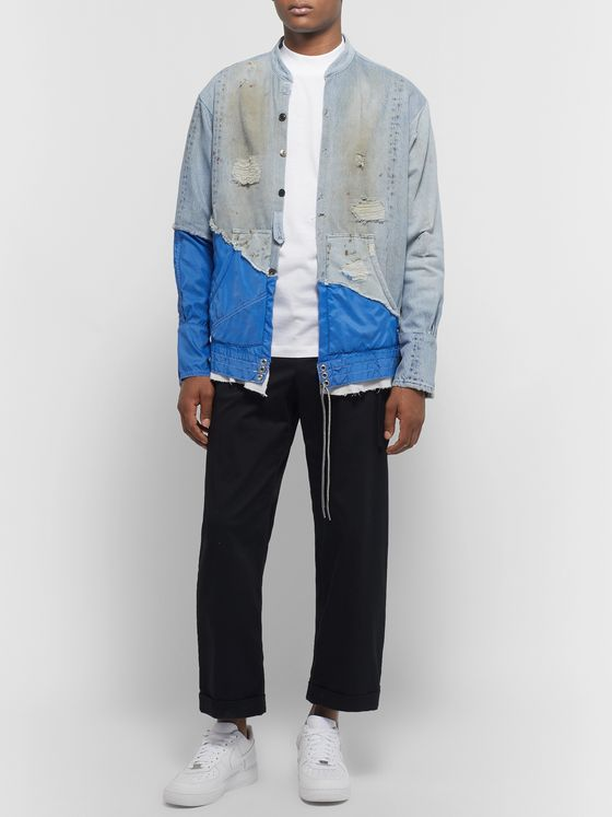 Greg Lauren + Birdwell Grandad-Collar Panelled Distressed Denim and Nylon Shirt