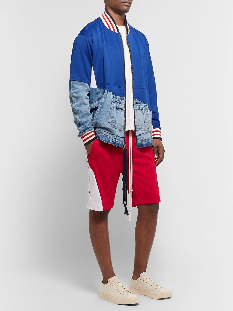 Greg Lauren Grosgrain-Trimmed Tech-Jersey Drawstring Shorts