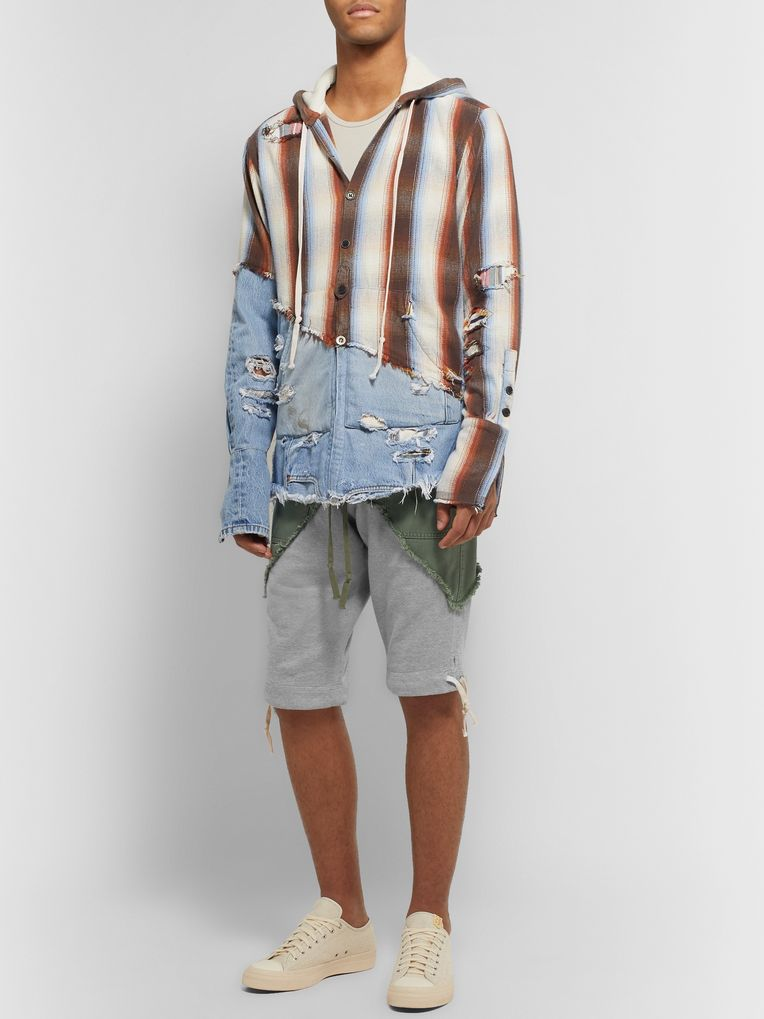 Greg Lauren Slim-Fit Cotton-Twill Panelled Loopback Mélange Jersey Drawstring Shorts