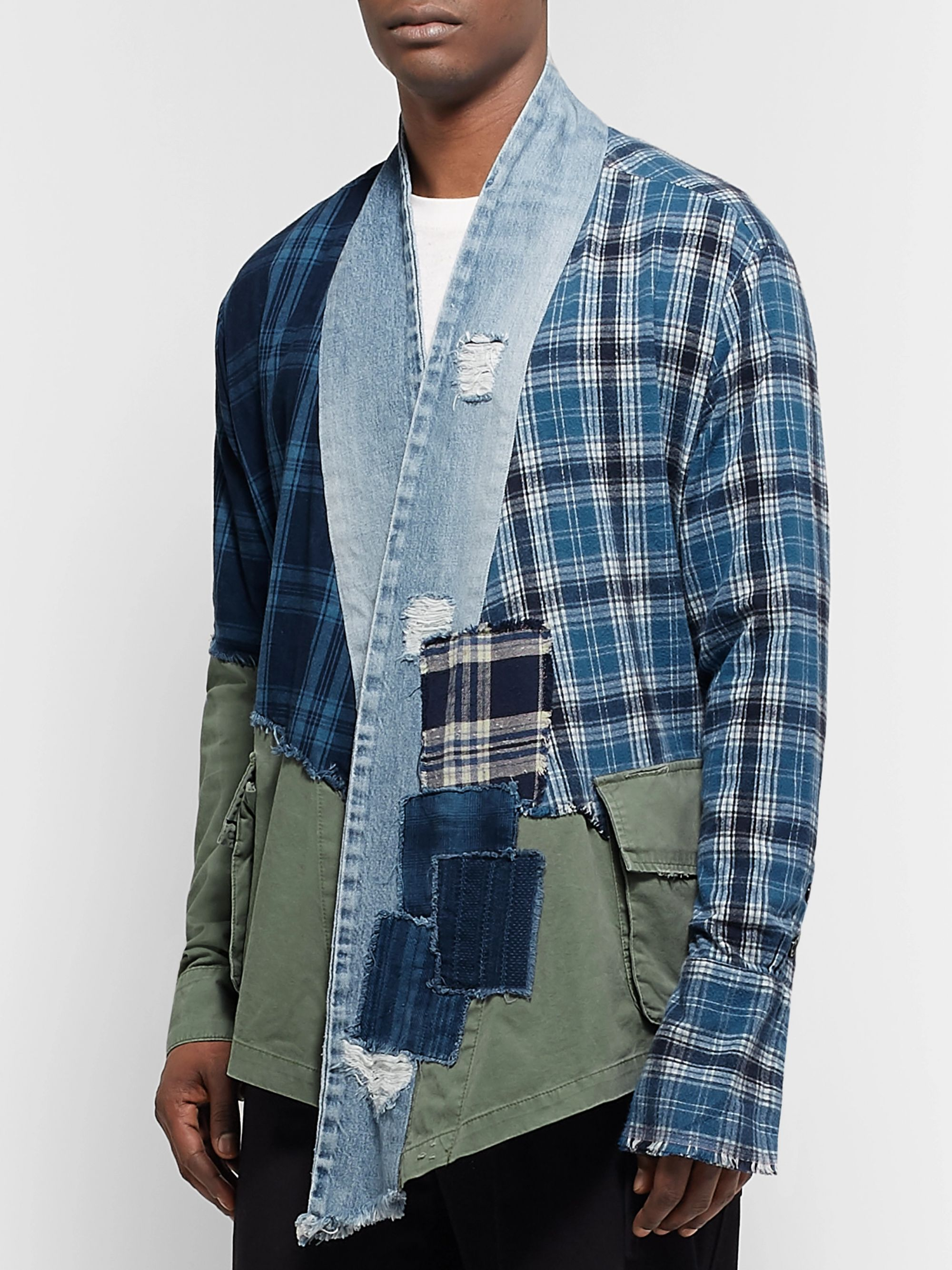 Greg Lauren Grandad-Collar Panelled Cotton-Chambray and Checked Canvas Shirt