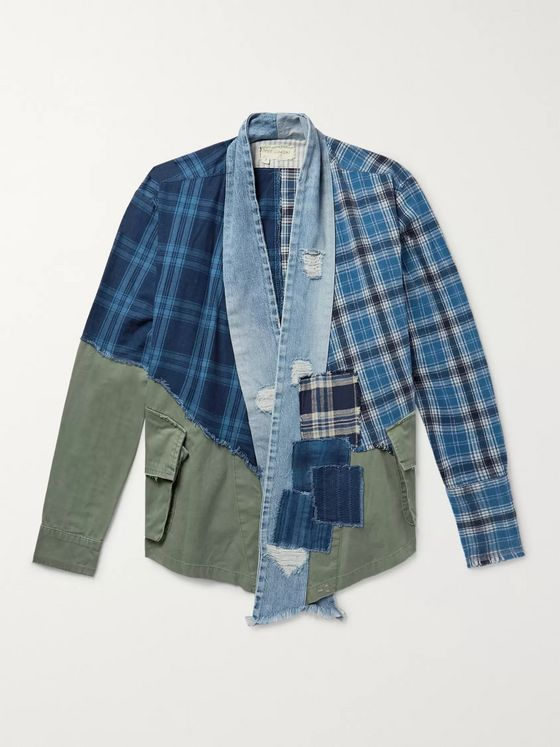 Greg Lauren Panelled Cotton-Canvas, Denim and Checked Flannel Jacket