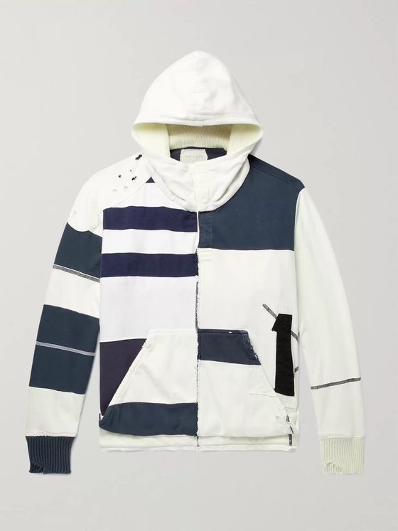 Greg Lauren Panelled Distressed Striped Cotton Hoodie