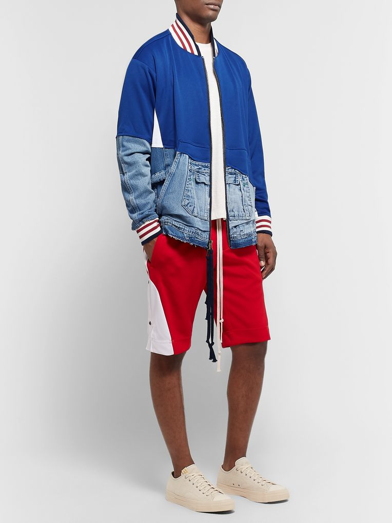 Greg Lauren Panelled Distressed Denim and Tech-Jersey Bomber Jacket