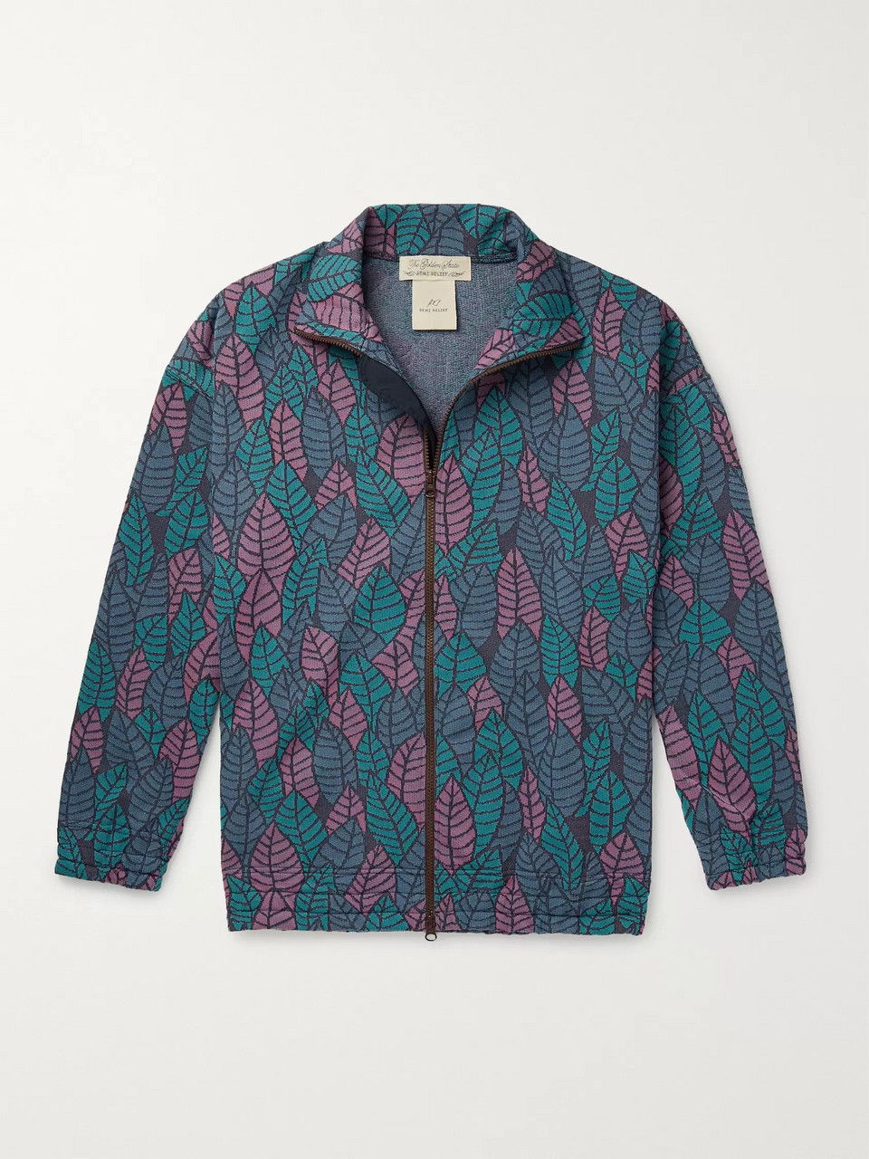 Remi Relief Jacquard-Knit Zip-Up Sweatshirt