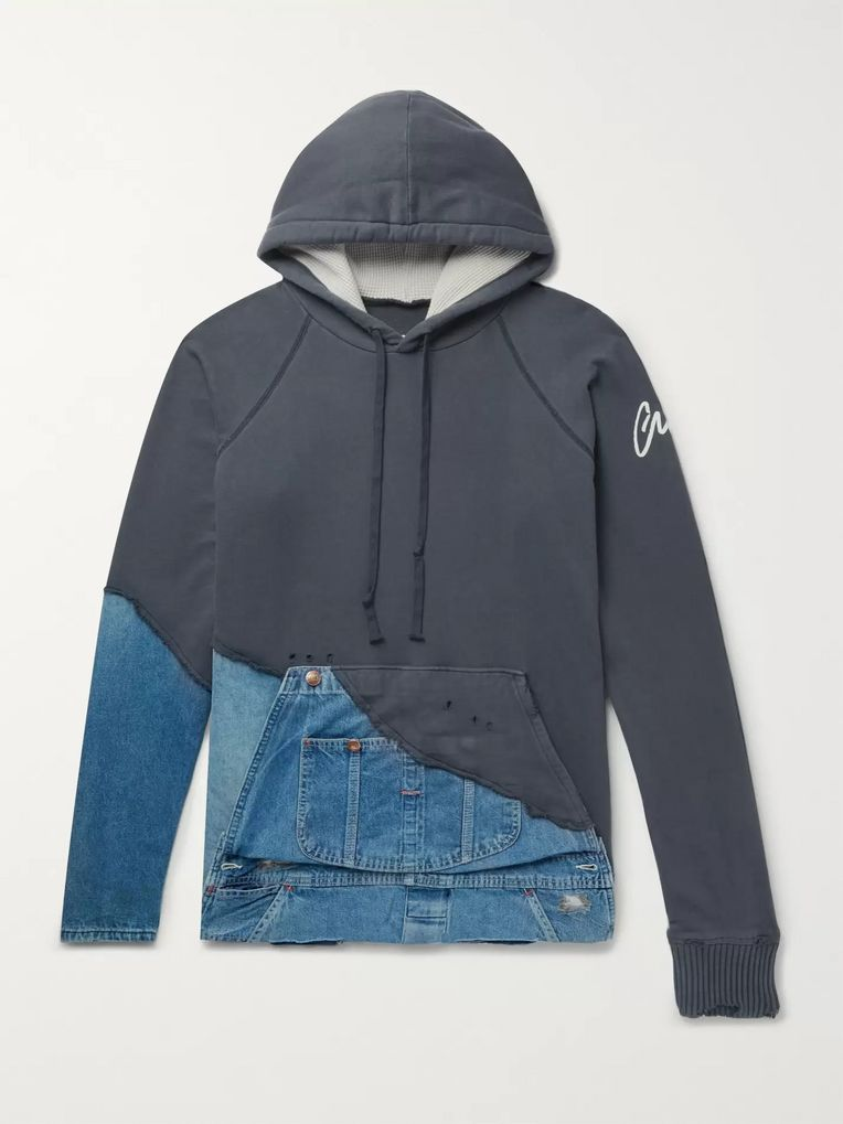 Greg Lauren Panelled Distressed Loopback Cotton-Jersey and Denim Hoodie