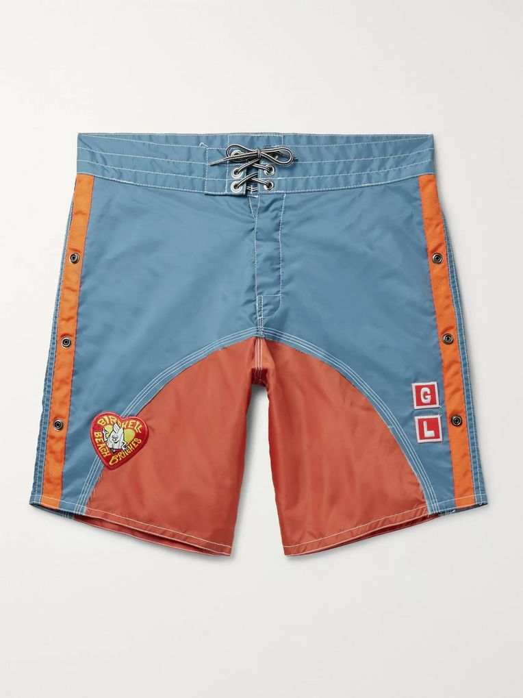 Greg Lauren + Birdwell Appliquéd Colour-Block Nylon-Blend Drawstring Shorts