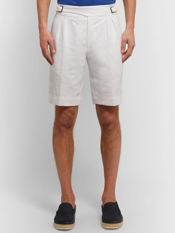 Anderson & Sheppard Pleated Linen Shorts
