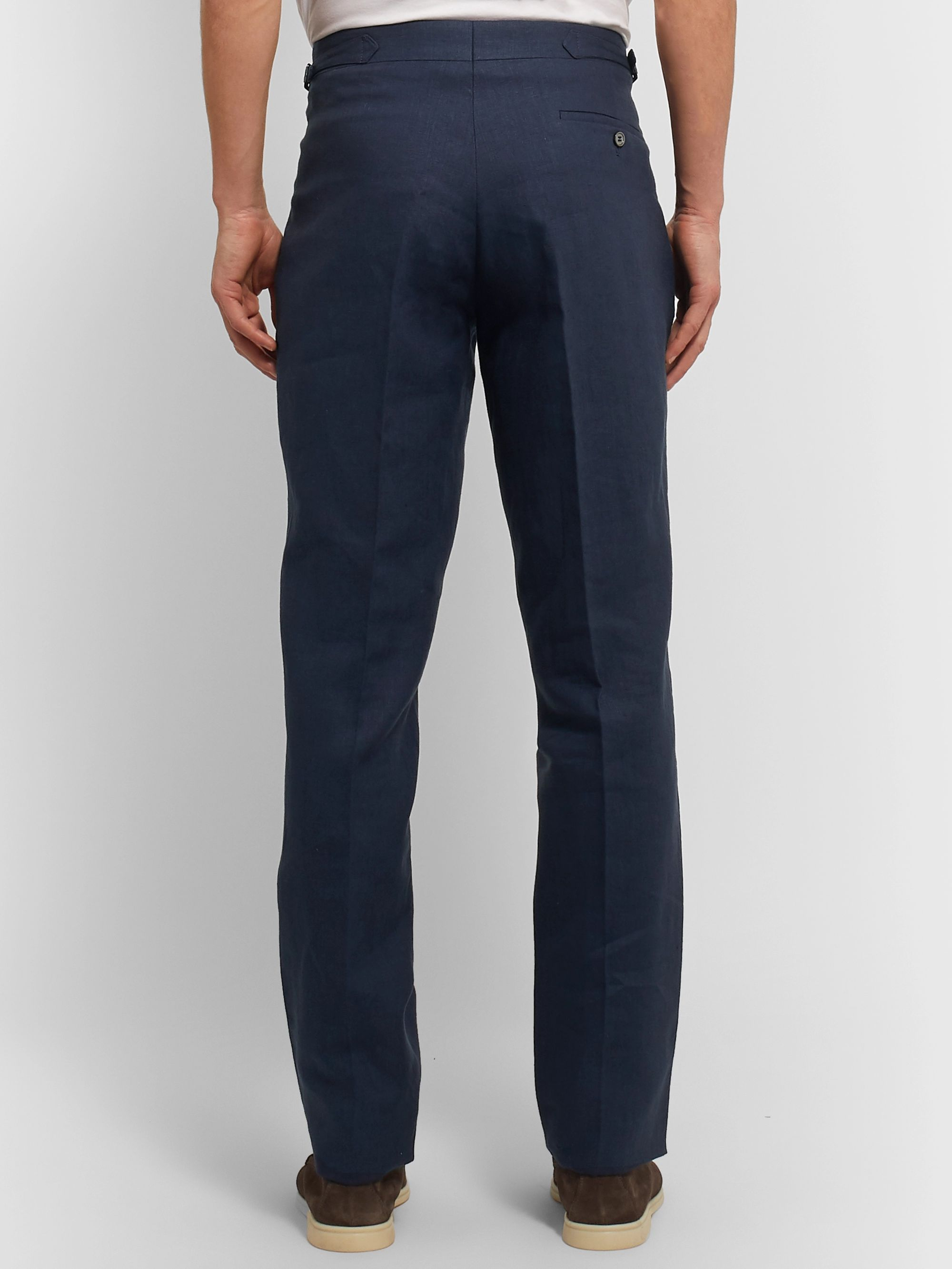 Anderson & Sheppard Slim-Fit Pleated Linen Trousers