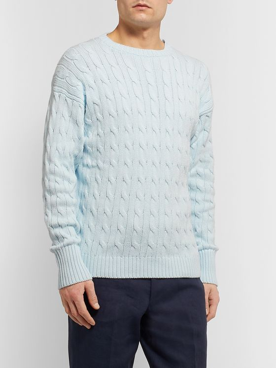 Anderson & Sheppard Slim-Fit Cable-Knit Cotton Sweater