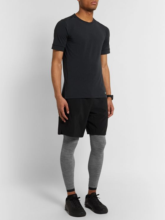Nike Training Pro Logo-Print Mélange Dri-FIT Tights