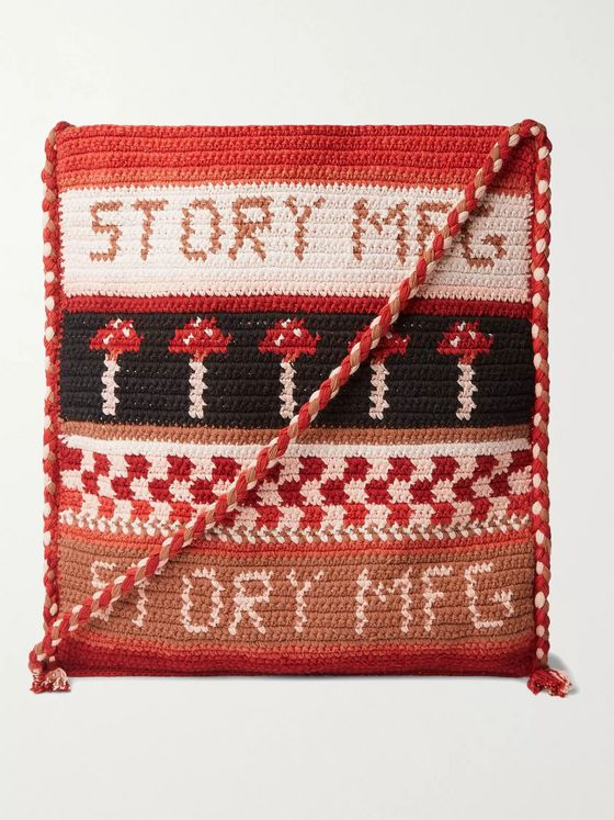 Story Mfg. Stash Tasselled Crochet-Knit Organic Cotton Messenger Bag