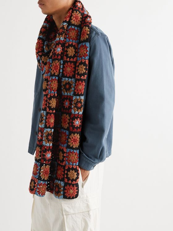 Story Mfg. Crochet-Knit Organic Cotton Scarf