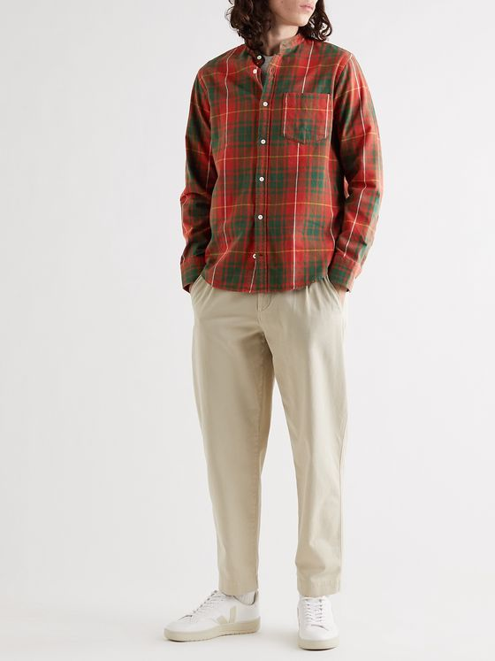 NN07 Justin Grandad-Collar Checked Cotton-Flannel Shirt