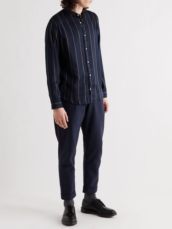 NN07 Justin Grandad-Collar Striped Tencel Shirt