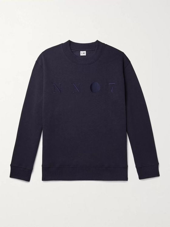 NN07 Jerome 3211 Logo-Embroidered Loopback Cotton-Blend Jersey Sweatshirt