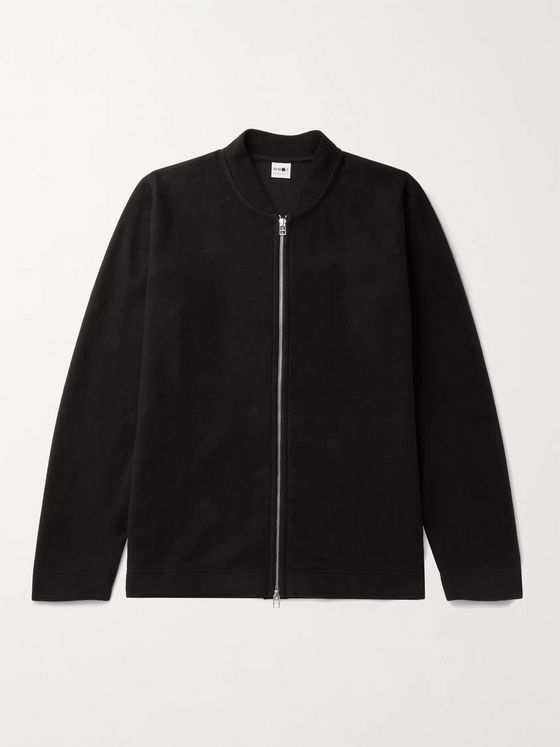 NN07 Jake Cotton-Jersey Bomber Jacket