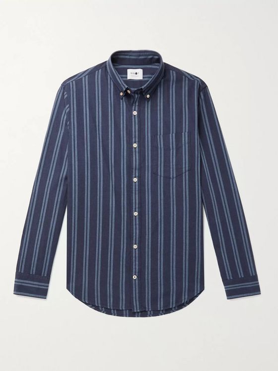 NN07 Levon Button-Down Collar Striped Cotton Shirt