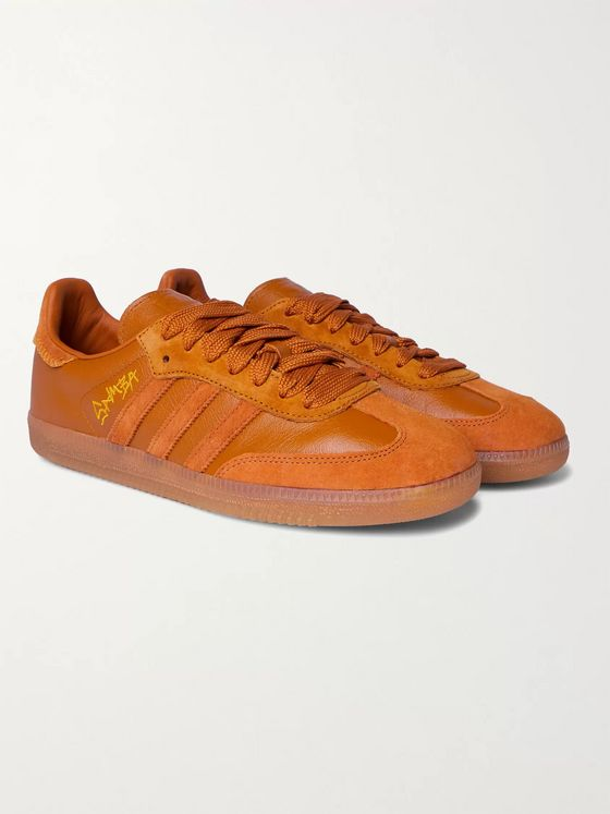 adidas Consortium + Jonah Hill Samba Embroidered Suede and Leather Sneakers